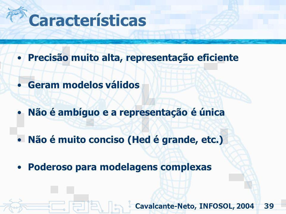 Características Precisão muito alta, representação eficiente