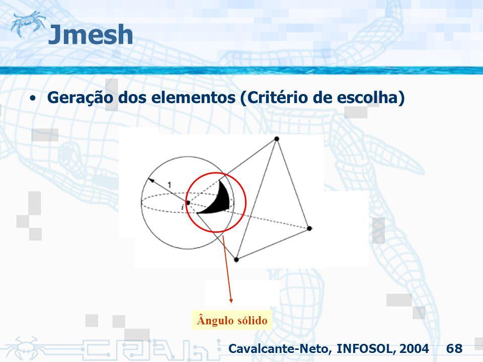 Jmesh Geração dos elementos (Critério de escolha) Ângulo sólido