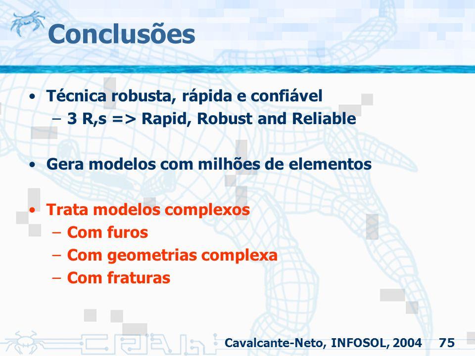 Conclusões Técnica robusta, rápida e confiável