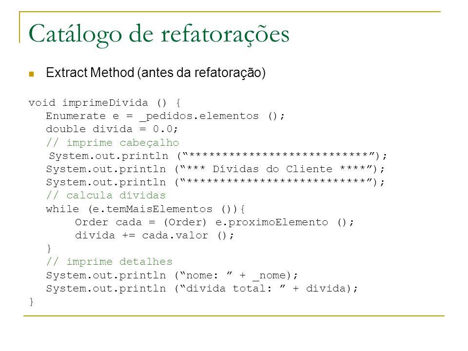 Catálogo de refatorações