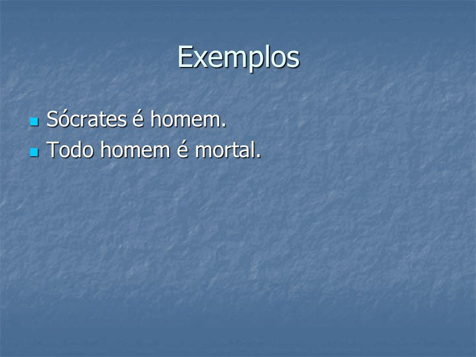 Exemplos Sócrates é homem. Todo homem é mortal.