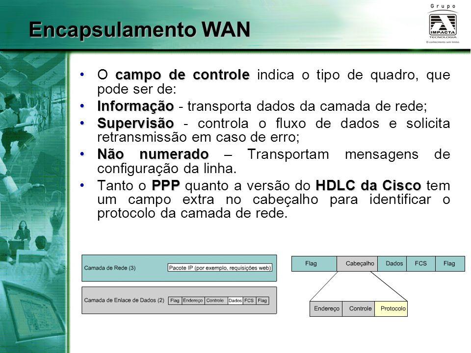 Encapsulamento WAN O campo de controle indica o tipo de quadro, que pode ser de: Informação - transporta dados da camada de rede;