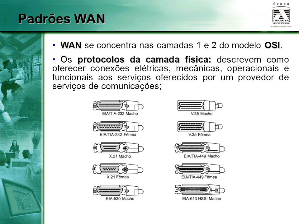 Padrões WAN WAN se concentra nas camadas 1 e 2 do modelo OSI.