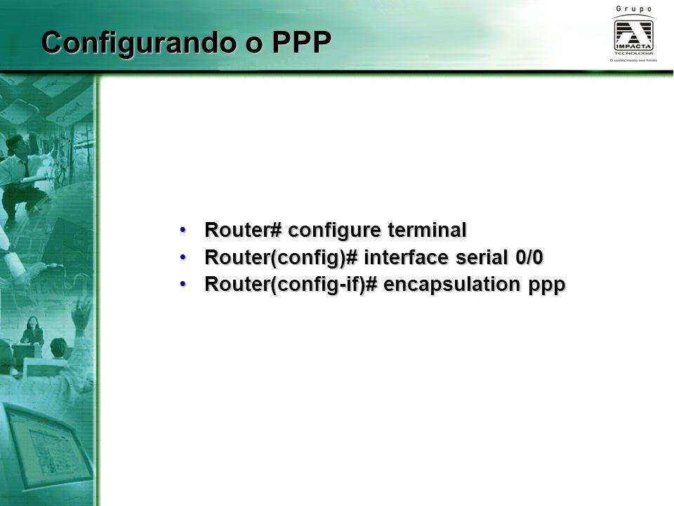 Configurando o PPP Router# configure terminal