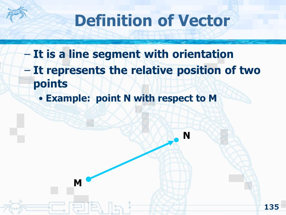 Definition of Vector It is a line segment with orientation