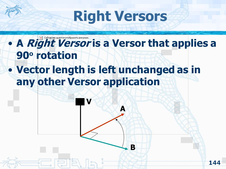Right Versors A Right Versor is a Versor that applies a 90o rotation