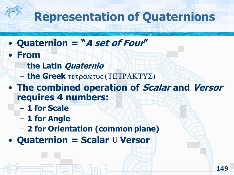 Representation of Quaternions