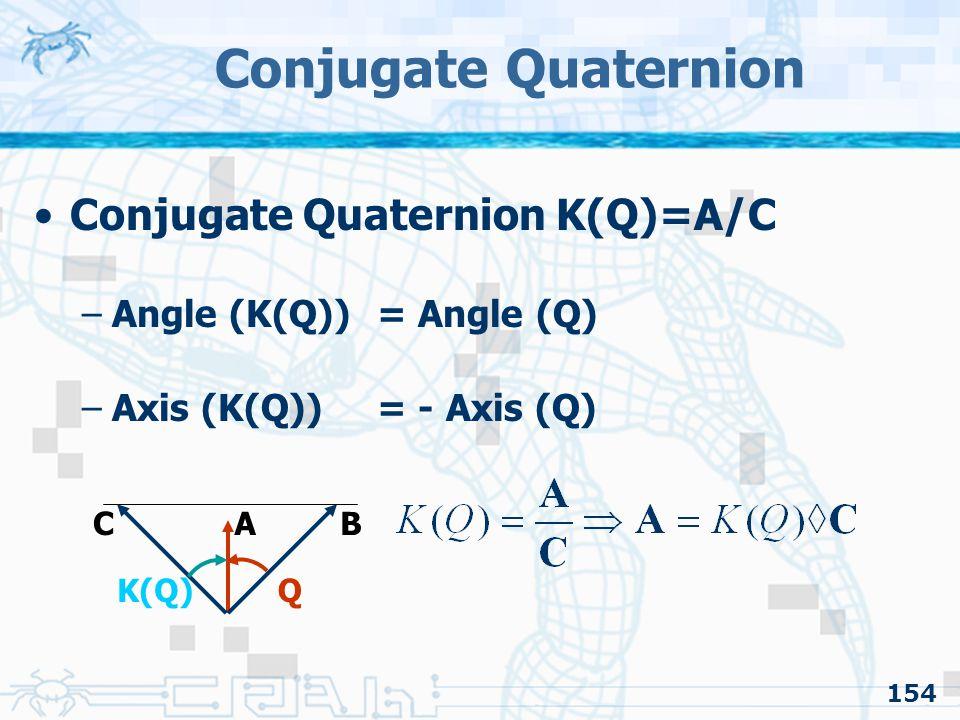 Conjugate Quaternion Conjugate Quaternion K(Q)=A/C