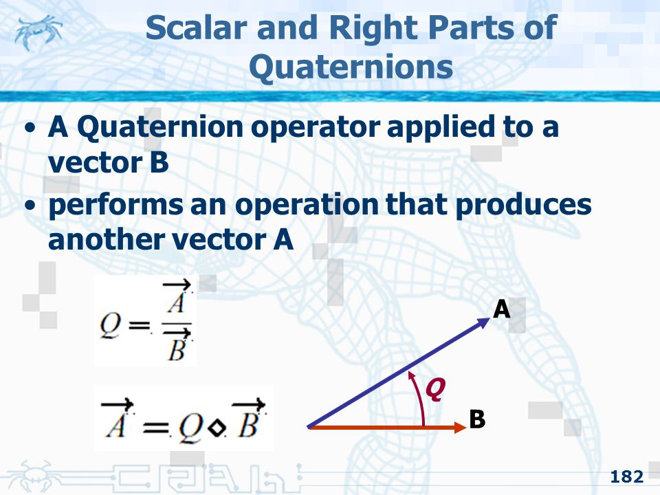 Scalar and Right Parts of Quaternions