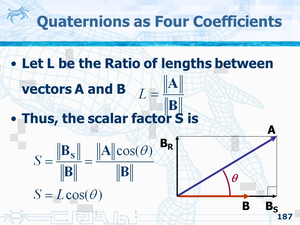 Quaternions as Four Coefficients