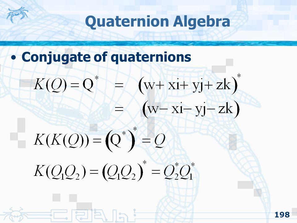 Quaternion Algebra Conjugate of quaternions