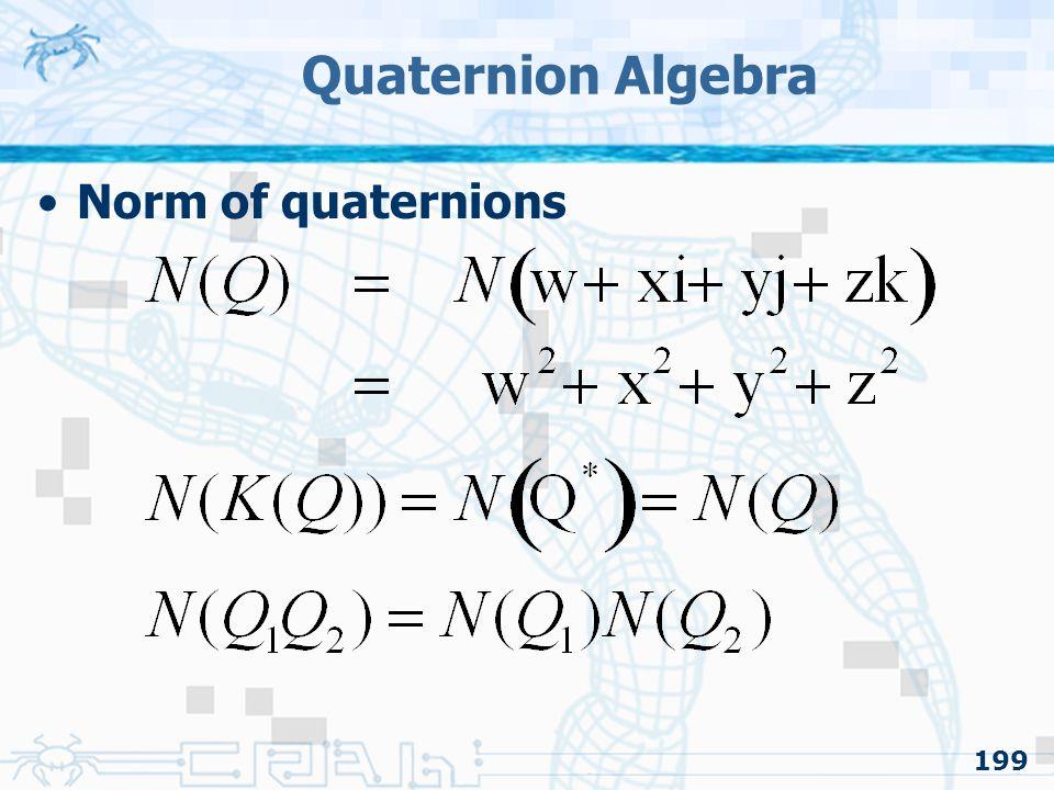 Quaternion Algebra Norm of quaternions