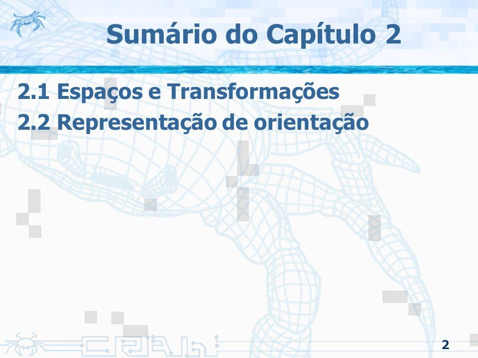 Sumário do Capítulo 2 2.1 Espaços e Transformações