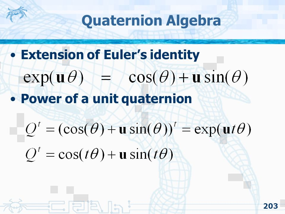 Quaternion Algebra Extension of Euler's identity