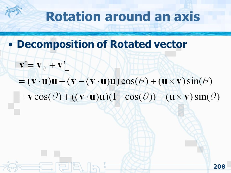 Rotation around an axis