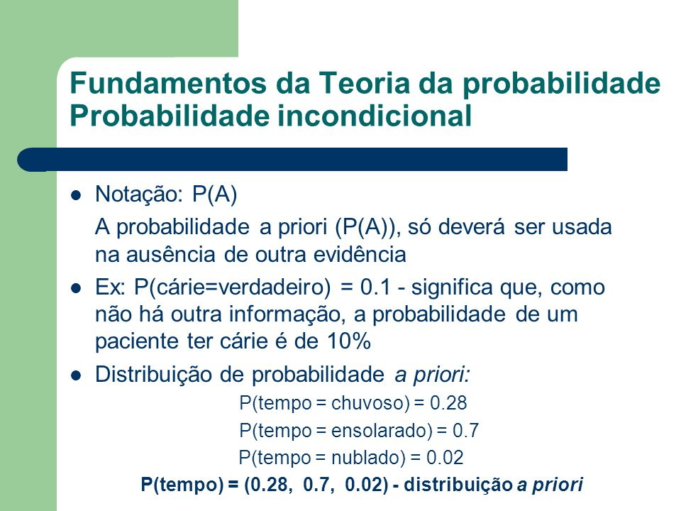 Fundamentos da Teoria da probabilidade Probabilidade incondicional