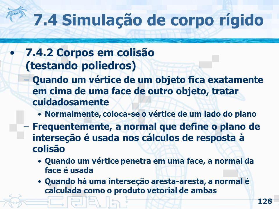 7.4 Simulação de corpo rígido