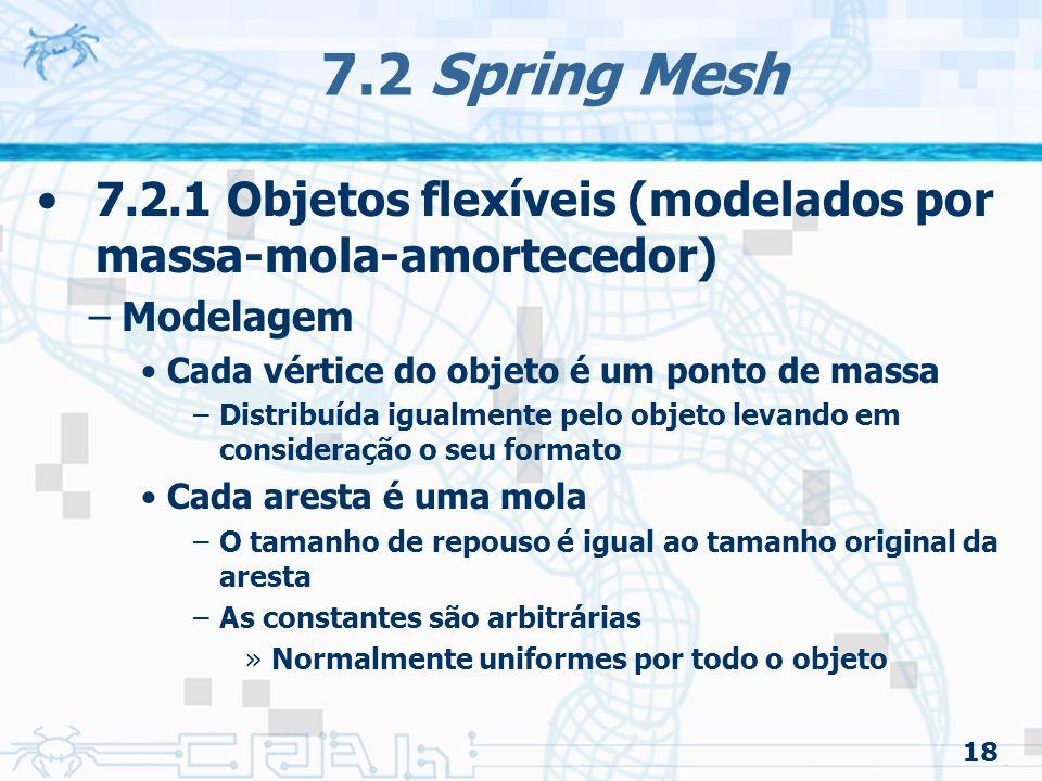 7.2 Spring Mesh 7.2.1 Objetos flexíveis (modelados por massa-mola-amortecedor) Modelagem. Cada vértice do objeto é um ponto de massa.