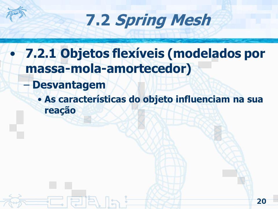 7.2 Spring Mesh 7.2.1 Objetos flexíveis (modelados por massa-mola-amortecedor) Desvantagem. As características do objeto influenciam na sua reação.