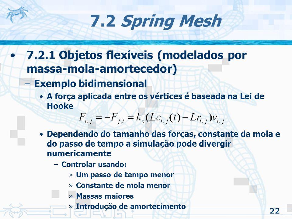 7.2 Spring Mesh 7.2.1 Objetos flexíveis (modelados por massa-mola-amortecedor) Exemplo bidimensional.