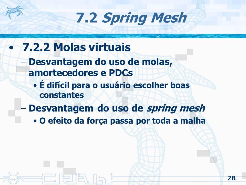 7.2 Spring Mesh 7.2.2 Molas virtuais Desvantagem do uso de spring mesh