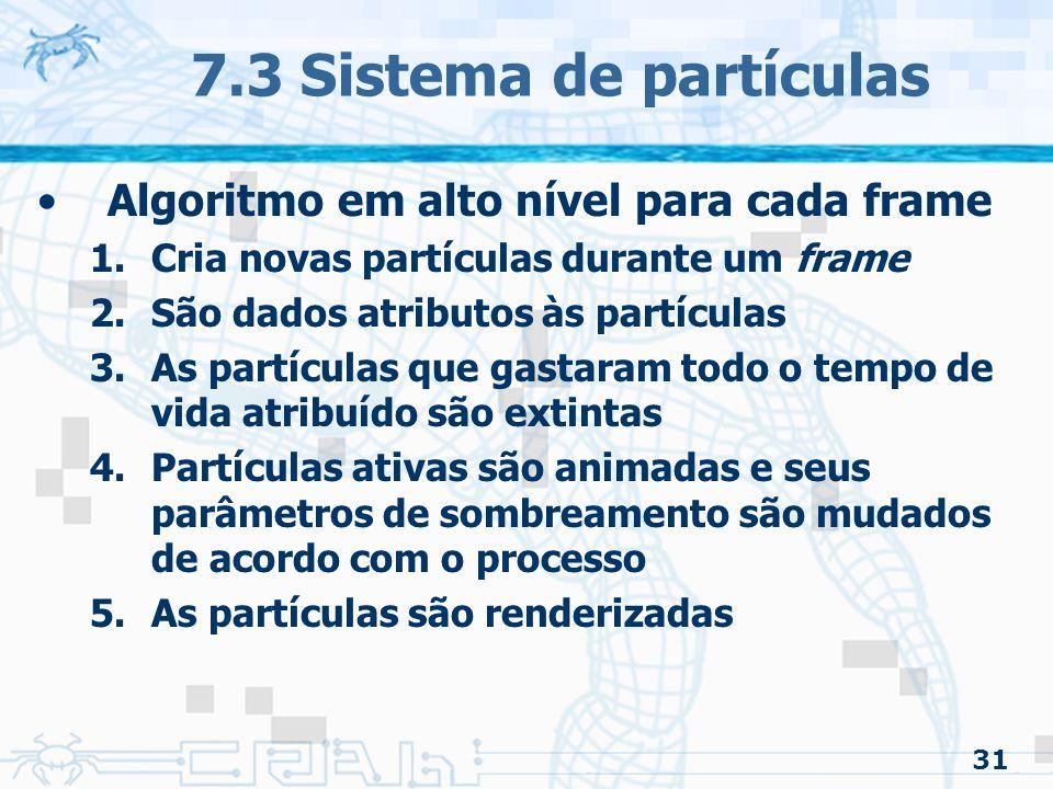 7.3 Sistema de partículas Algoritmo em alto nível para cada frame
