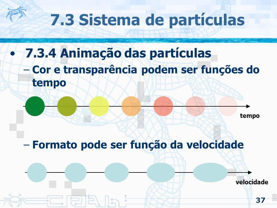 7.3 Sistema de partículas 7.3.4 Animação das partículas