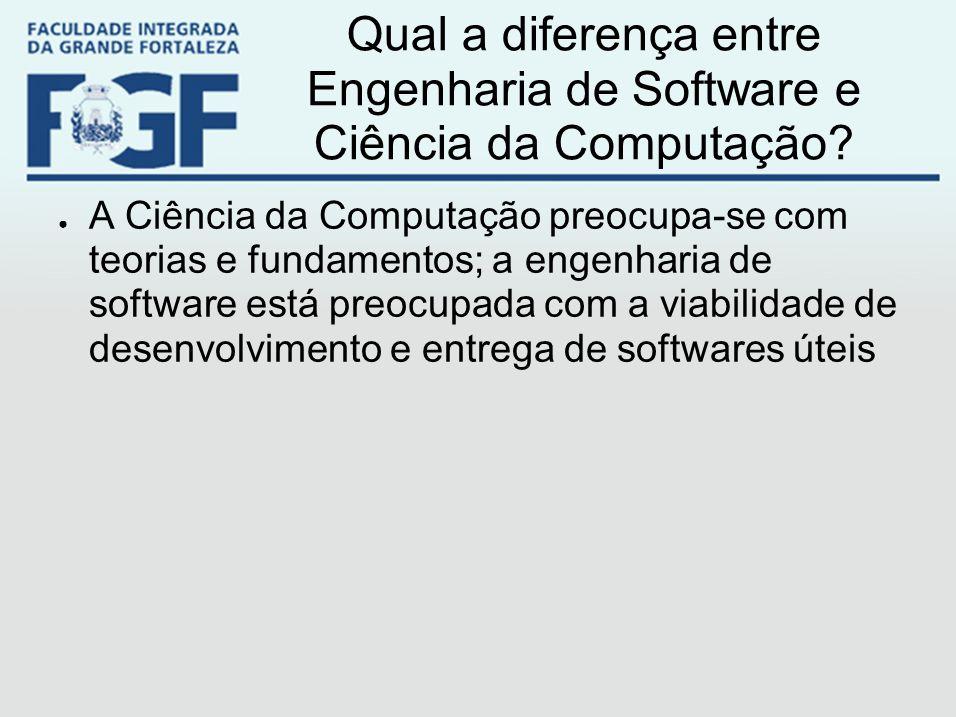 Qual a diferença entre Engenharia de Software e Ciência da Computação