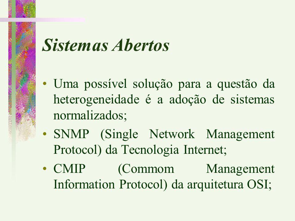 Sistemas Abertos Uma possível solução para a questão da heterogeneidade é a adoção de sistemas normalizados;