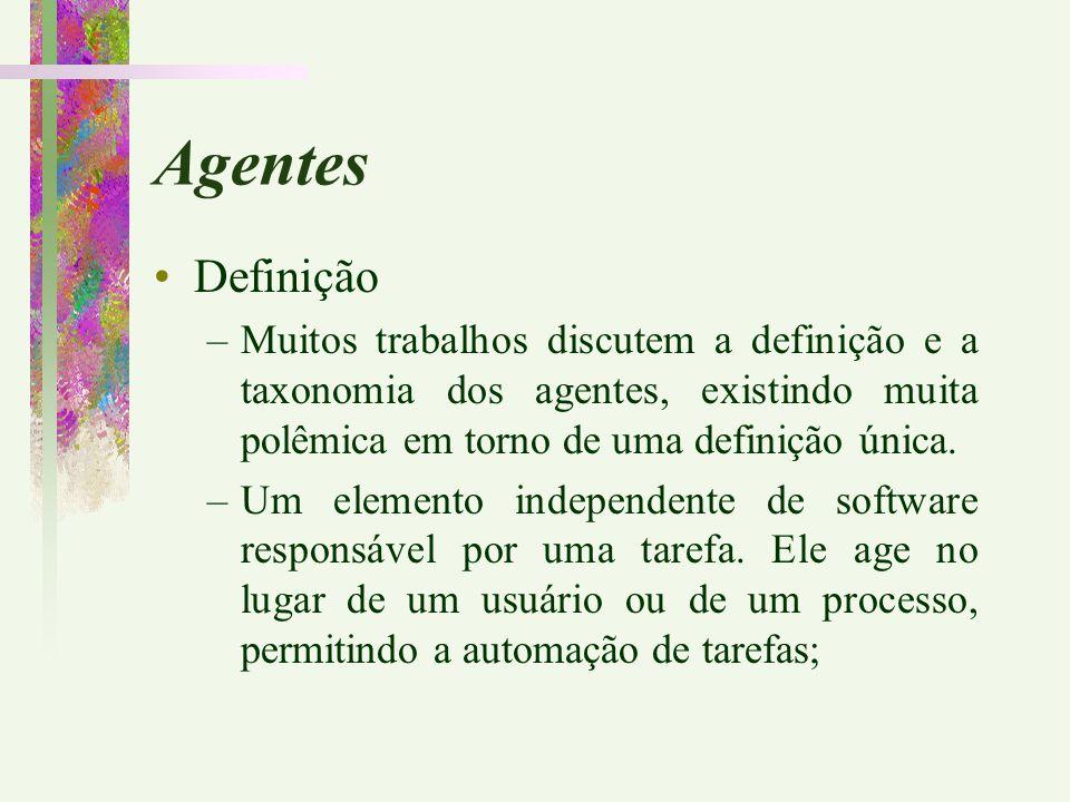Agentes Definição. Muitos trabalhos discutem a definição e a taxonomia dos agentes, existindo muita polêmica em torno de uma definição única.