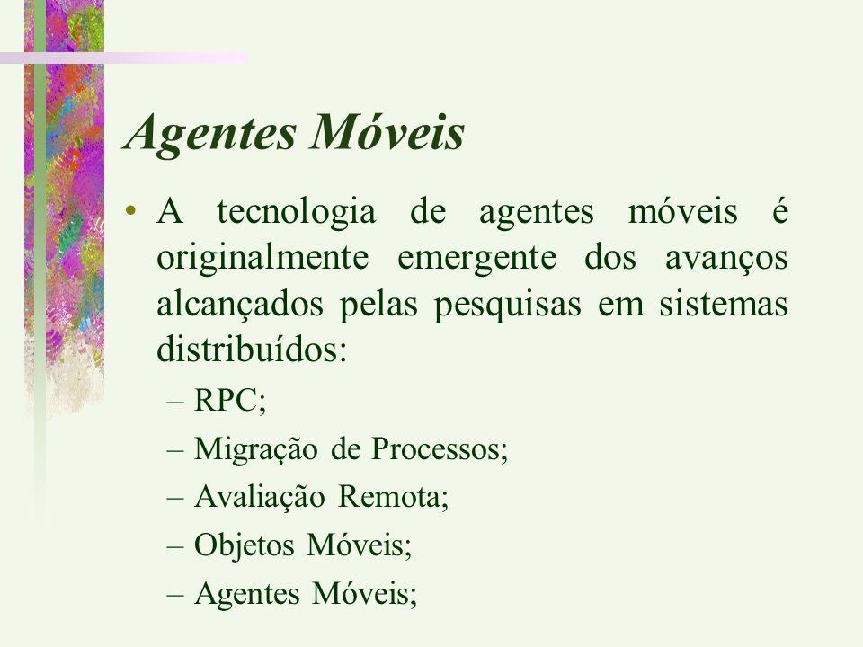 Agentes Móveis A tecnologia de agentes móveis é originalmente emergente dos avanços alcançados pelas pesquisas em sistemas distribuídos: