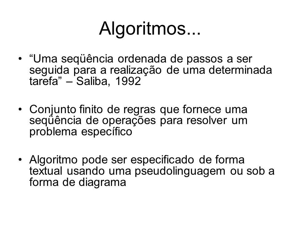 Algoritmos... Uma seqüência ordenada de passos a ser seguida para a realização de uma determinada tarefa – Saliba, 1992.