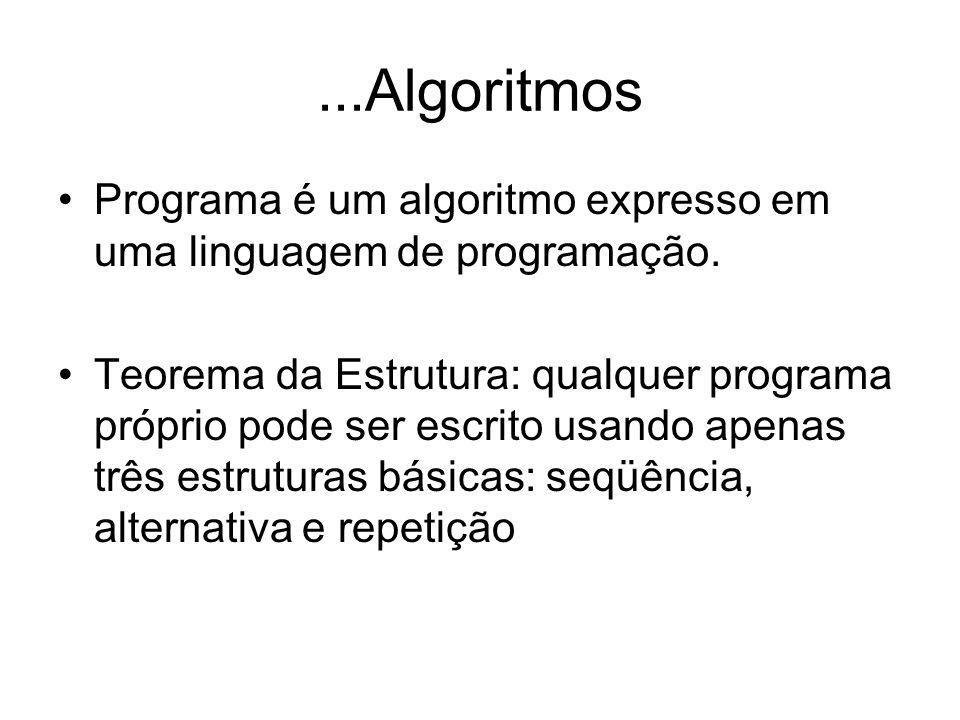 ...Algoritmos Programa é um algoritmo expresso em uma linguagem de programação.