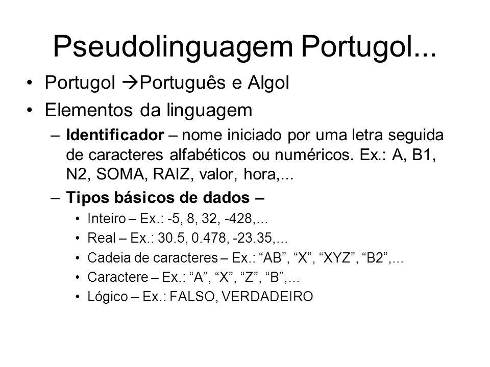 Pseudolinguagem Portugol...