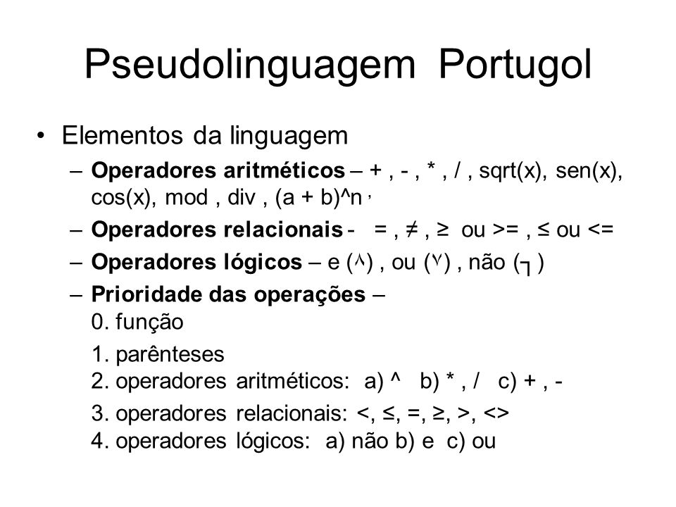 Pseudolinguagem Portugol