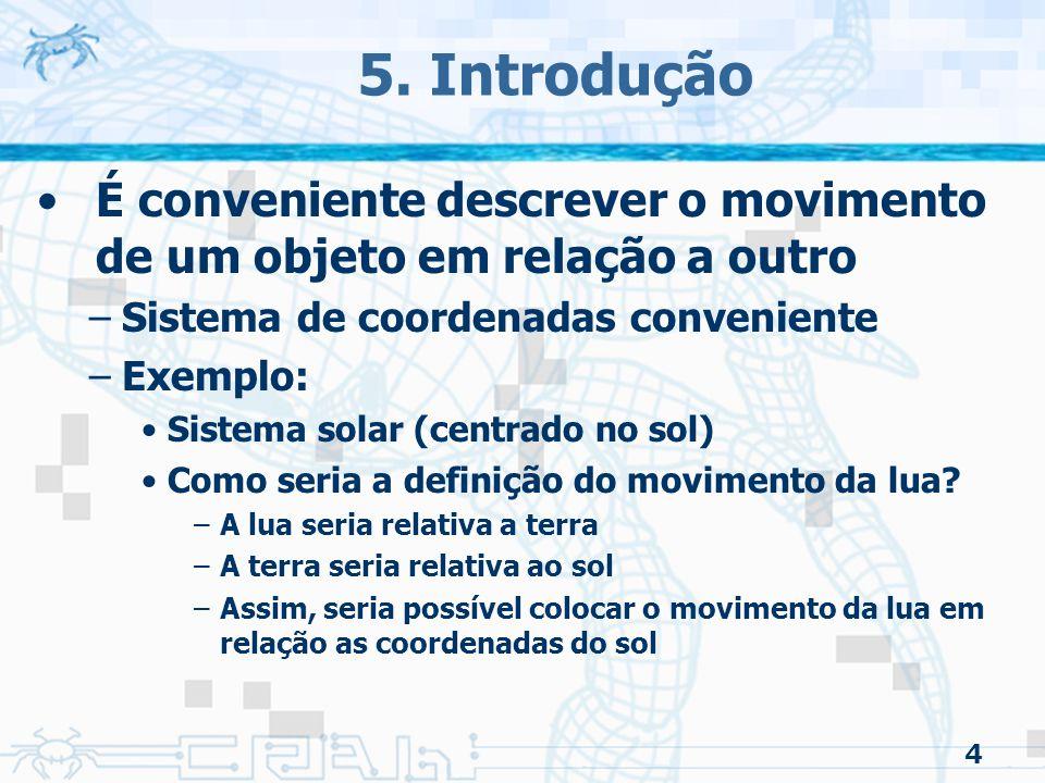 5. Introdução É conveniente descrever o movimento de um objeto em relação a outro. Sistema de coordenadas conveniente.