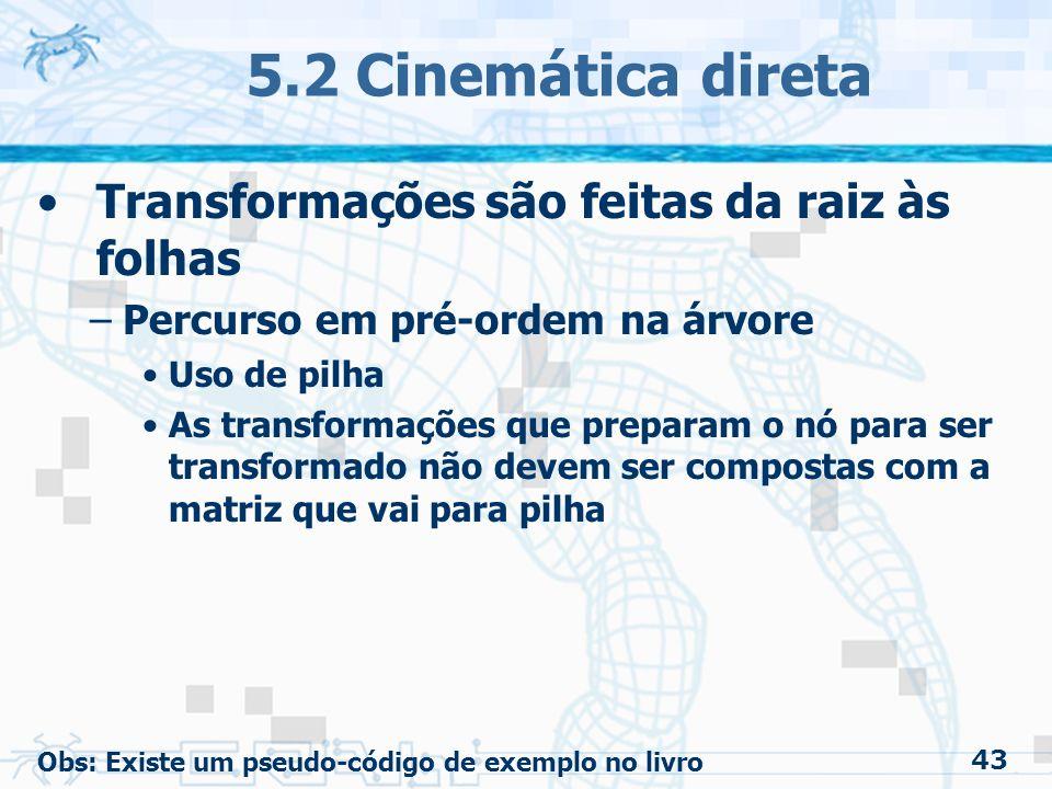 5.2 Cinemática direta Transformações são feitas da raiz às folhas