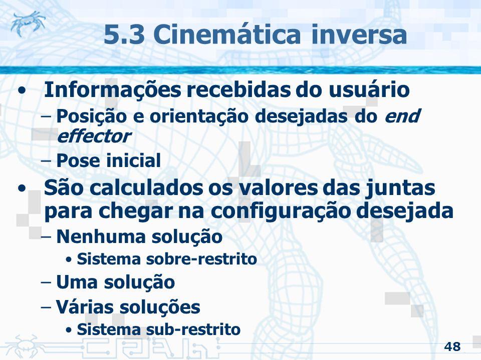 5.3 Cinemática inversa Informações recebidas do usuário