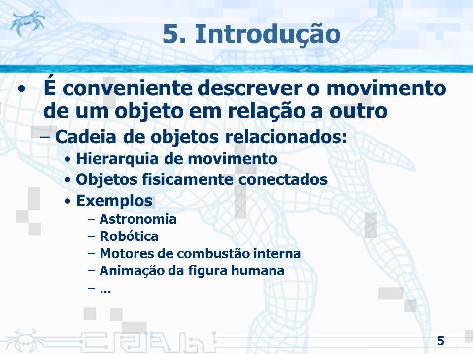 5. Introdução É conveniente descrever o movimento de um objeto em relação a outro. Cadeia de objetos relacionados: