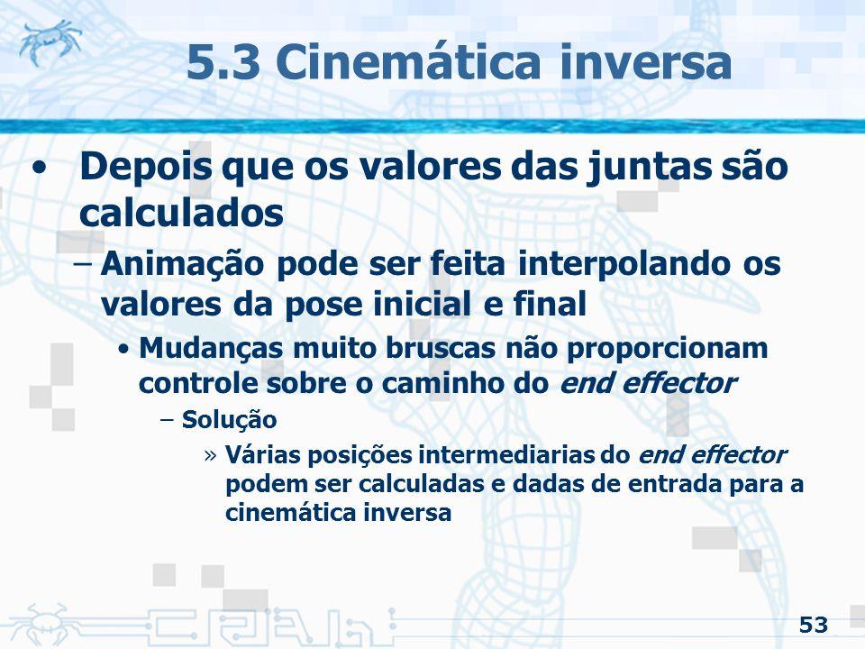 5.3 Cinemática inversa Depois que os valores das juntas são calculados