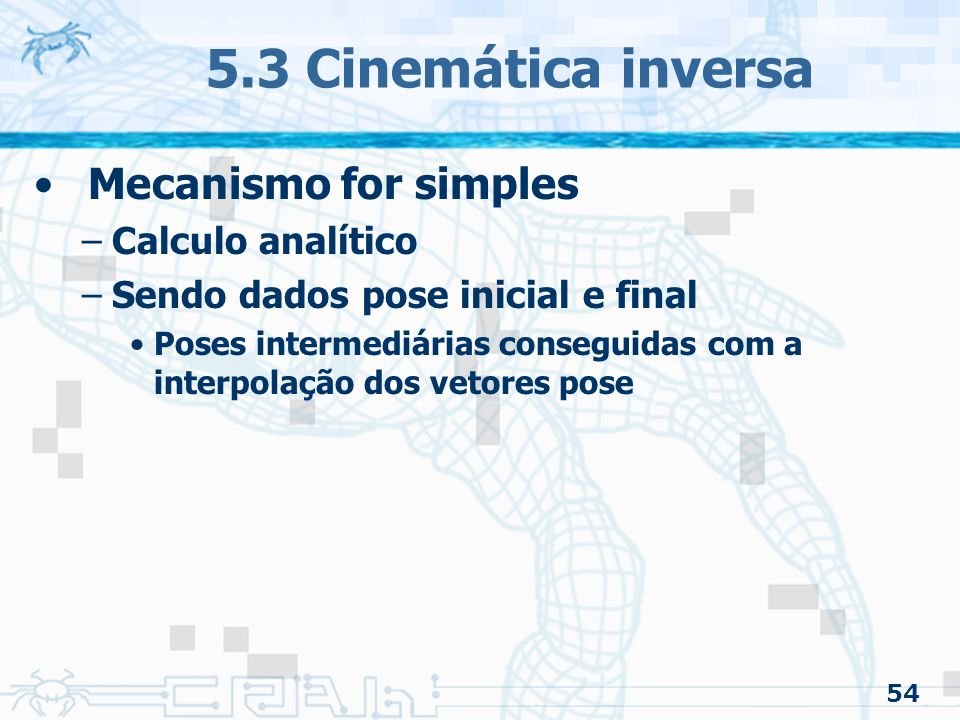 5.3 Cinemática inversa Mecanismo for simples Calculo analítico