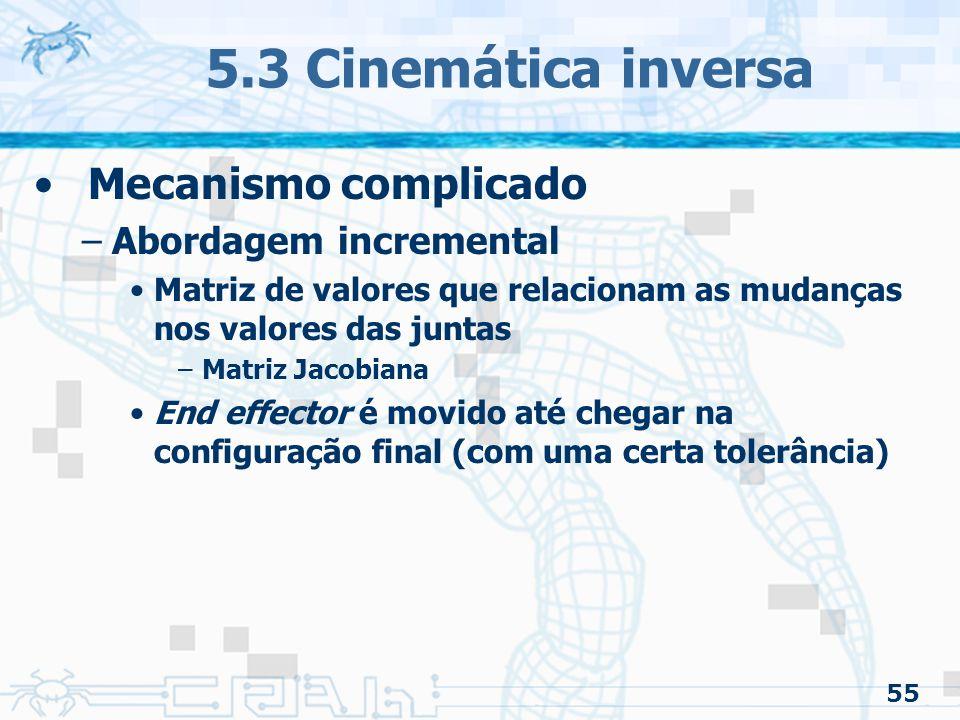 5.3 Cinemática inversa Mecanismo complicado Abordagem incremental