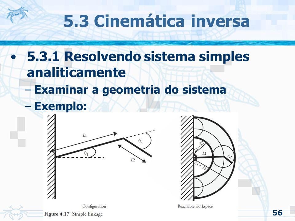 5.3 Cinemática inversa 5.3.1 Resolvendo sistema simples analiticamente