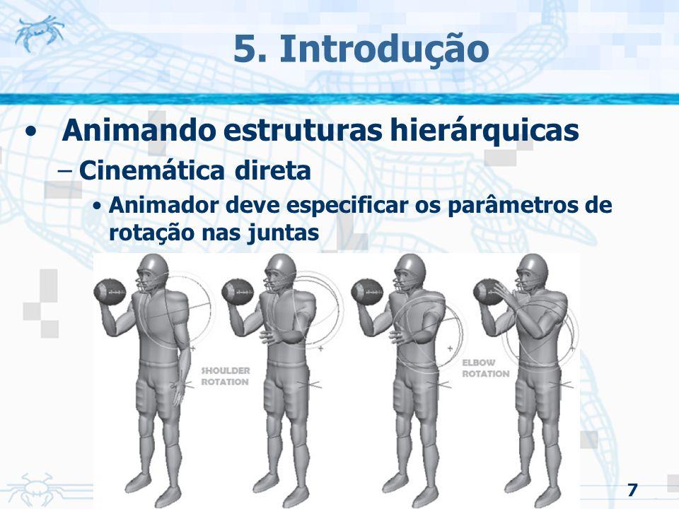 5. Introdução Animando estruturas hierárquicas Cinemática direta