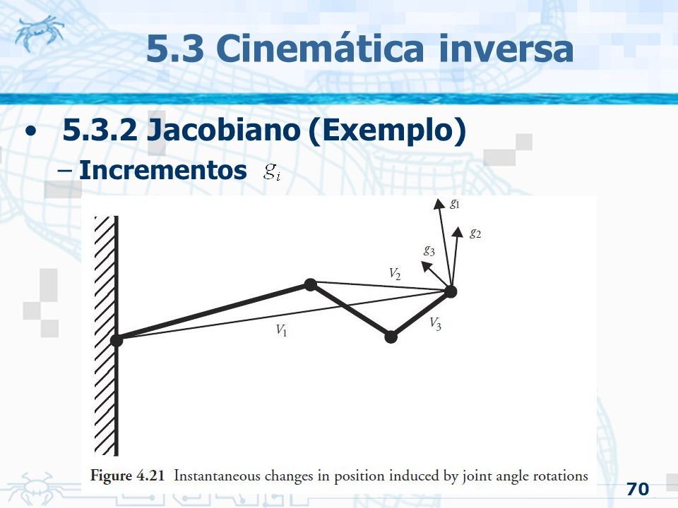 5.3 Cinemática inversa 5.3.2 Jacobiano (Exemplo) Incrementos 70