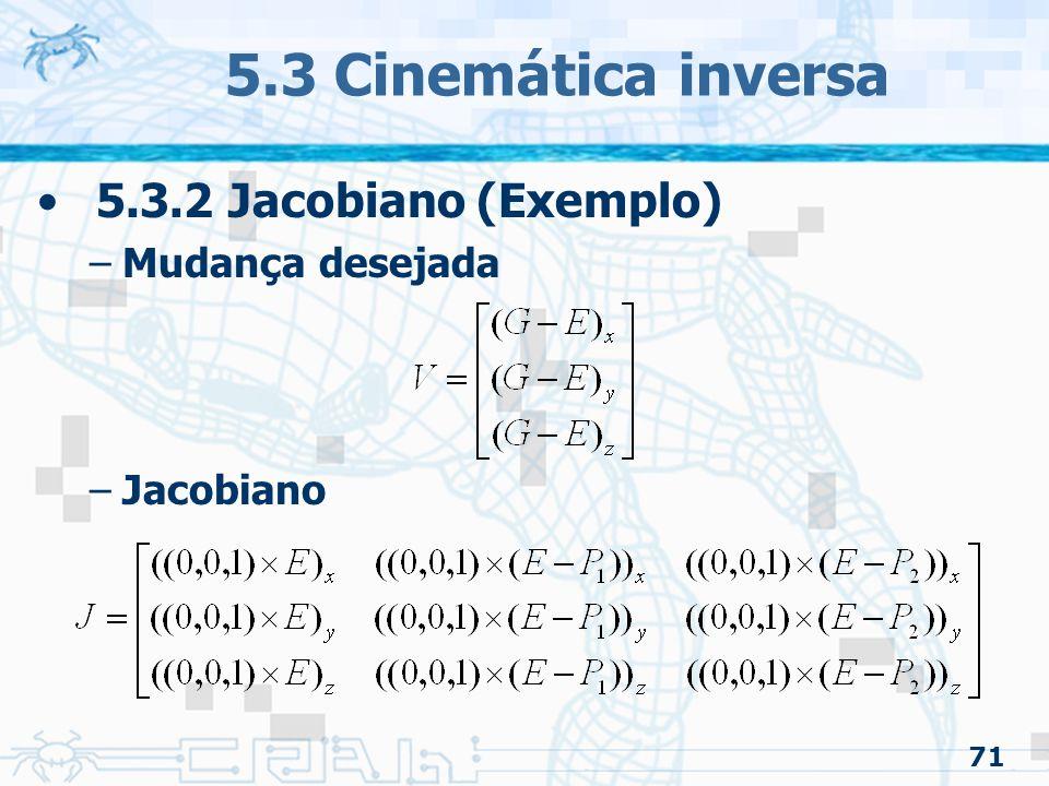 5.3 Cinemática inversa 5.3.2 Jacobiano (Exemplo) Mudança desejada