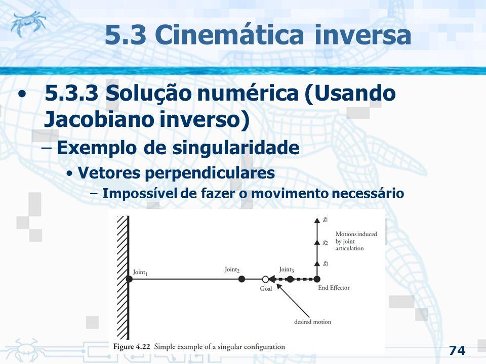 5.3 Cinemática inversa 5.3.3 Solução numérica (Usando Jacobiano inverso) Exemplo de singularidade.