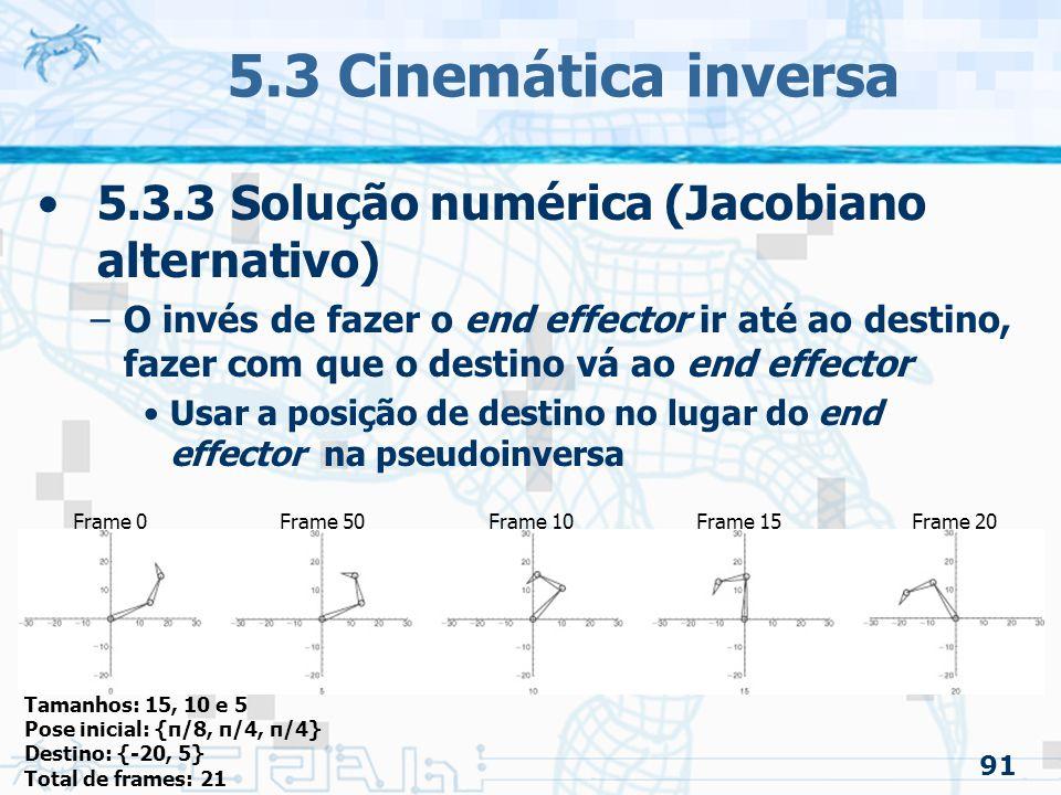 5.3 Cinemática inversa 5.3.3 Solução numérica (Jacobiano alternativo)