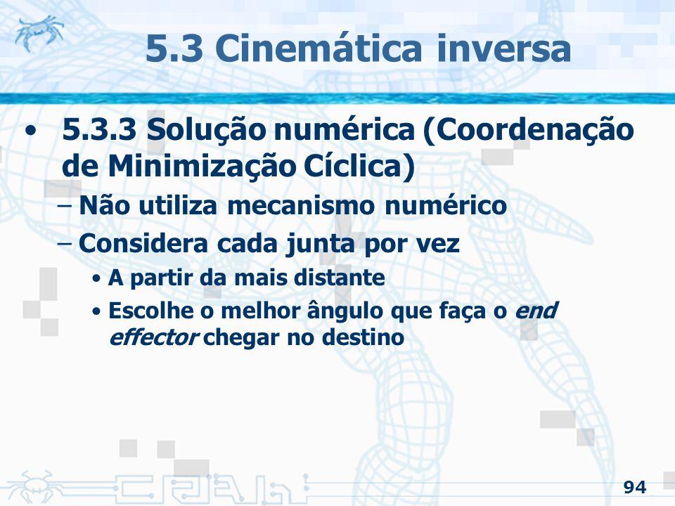 5.3 Cinemática inversa 5.3.3 Solução numérica (Coordenação de Minimização Cíclica) Não utiliza mecanismo numérico.