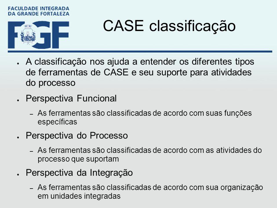 CASE classificação A classificação nos ajuda a entender os diferentes tipos de ferramentas de CASE e seu suporte para atividades do processo.
